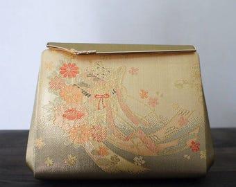 second hand Japanese kimono bag, purse, gold, goshoguruma