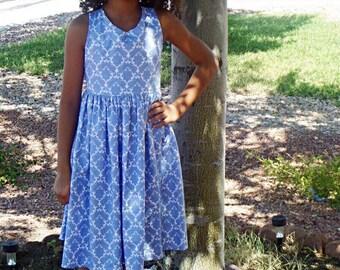 White with blue flower print dress, 6th Birthday dress