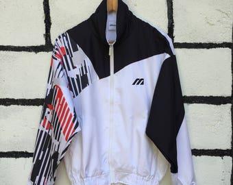 Rare Mizuno Windbreaker Jacket Multicolor On Sleeve Full Zip Up Nice Design
