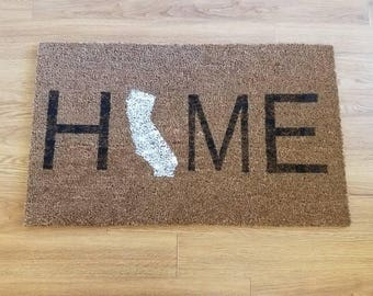"Customized ""HOME"" State Coir Doormat"