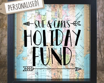 Gift For Her // Personalised Gift // Holiday Fund // Holiday Countdown // Travel Fund // Adventure Fund // Savings Frame // Money Box //