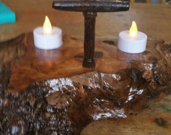 Cross and Tealight holder on solid oak.