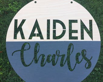 12 14 16 or 18 inch Wood Name Circle - Name Cut Out - Wood Name sign - Laser Cut Name - Round Name Sign - Baby Shower Gift - Wood Cut out