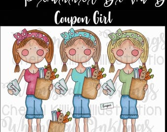 Coupon Girl planner sticker clip art, small commercial use ok, hand colored