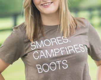 Fall shirt| Campfires Smores and Boots Fall Shirt| Fall Bella Canvas Tshirt