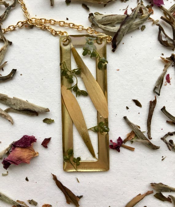 Green Ash tree seed and mugwort brass rectangle necklace