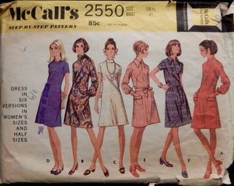 Vintage Women's Dress Pattern in Six Versions (McCall's 2550) Size 18 1/2