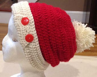 Red and White Crochet Hat