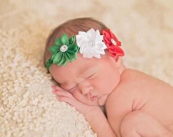 Christmas Headband, Holiday Headband, Red White Green Headband, Newborn Headband, Toddler Headband, Girls Headband