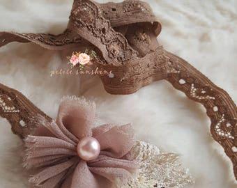 Brown Newborn tieback, handmade flower, rustic tieback, organic tieback, Newborn tieback, baby tieback, baby girl headband, photo prop