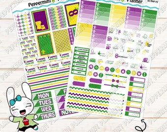 Mardi Gras Weekly Planner Kit --- A La Carte --- For use with the Mini Happy Planner --- MHP02