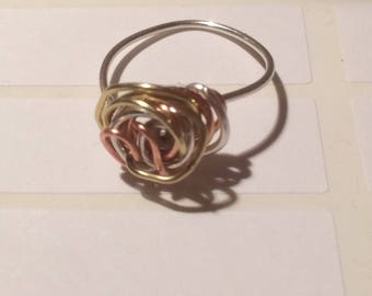 Tri-colour Ring - Sterling Silver, Brass and Copper