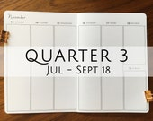 B6 Traveler's Notebook, Printed Week on Two Pages Full Vertical (WO2P) Dated  Q3 July - September 2018 #b631