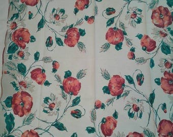 Free Shipping Anywhere!!! Vintage Mid Century Floral Print Tablecloth
