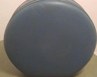 "Free Shipping!!! Vintage Mid Century American Tourister Hard Luggage Blue 20"" Diameter Train Case Hat Box"