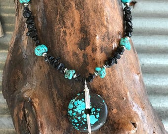 Turquoise and Onyx Necklace