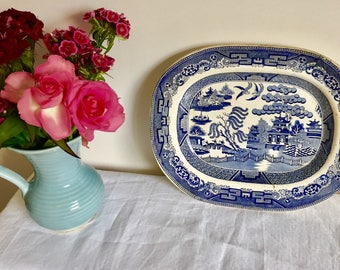 Victorian Antique 1800's Blue and White. Willow pattern. Rectangle platter. Serving plate.