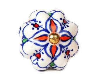 Ceramic Cabinet Knob with Yellow Flowers