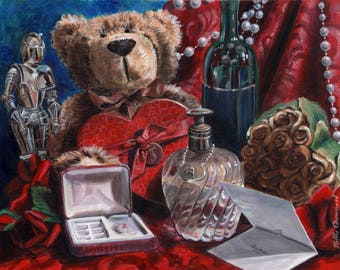 The Look of Love, Romantic Still life, Fine Art Print, Original, Unique Gift, One of a Kind, Fantasy, Surrealism, Painting