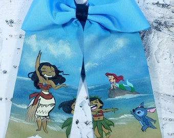 Moana Ariel Lilo and stitch hand painted cheer bow hand painted hair bow cosplay disney dressup