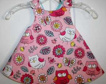 Pink Owl with Multi Color Zig Zag Reversible Sundress.