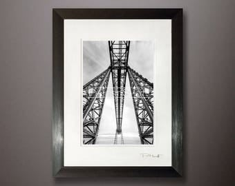 Black White photography framed print, Transporter bridge, cityscape photo, Fine art photo, middlesbrough cityscape, abstract art prints