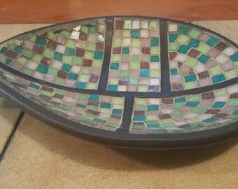 Vintage 60s Mid Century Modern VIEJAS Multi-Color Mosaic Tile Decorative Bowl MCM Tiles