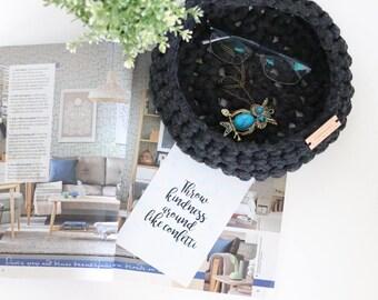Large crochet cotton basket