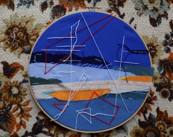 "Abstract Landscape // Patchwork and Hand Embroidery in a 10"" Hoop"