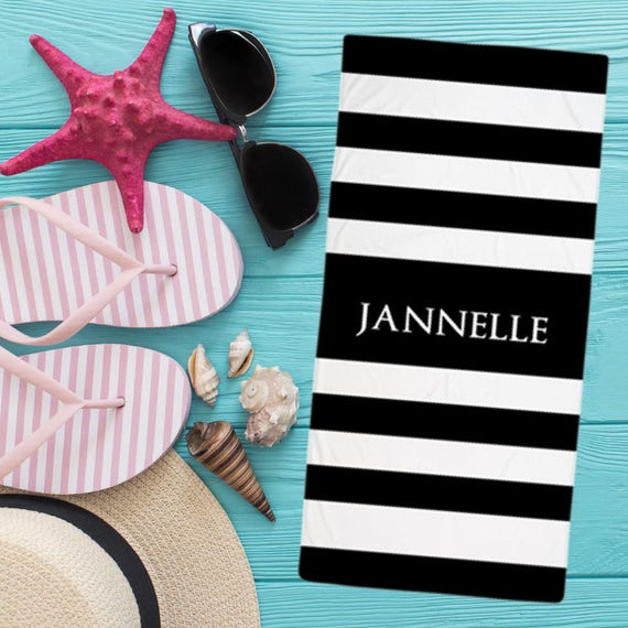 Black and White Stripes Personalized Name Beach Towel | Monogram beach towel , Personalized towel  large beach towel ,monogrammed towel