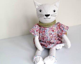 Cat Doll, Rag Doll Cat, Linen Cloth Cat Doll in Dress, named Charlotte