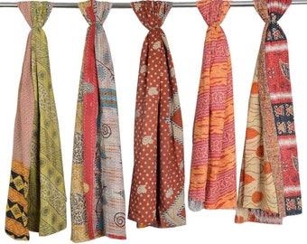 5 Pc Lot Of Vintage Cotton Saree Kantha Scarves Reversible Kantha Neck Wrap Vintage Kantha Women's Stole Indian Handmade Kantha Scarf