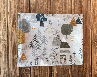 Woodland Map Quilting Fabric. Fabric by the Yard. Cotton Knit Jersey Minky. Forest Camp Mountain Adventure Awaits Boy Baby Nursery Tree Kids