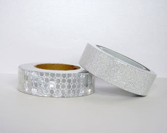 Set of 2 rolls of Washi Tape masking tape 10 m silver, Christmas, packaging