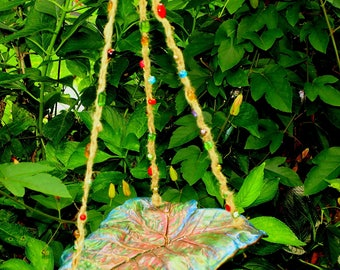 Hanging Butterfly, Bee, Bird bath or feeder. Elephant Ear Leaf Casting, Garden Decor, Patio Decor. Garden Art, Hypertufa