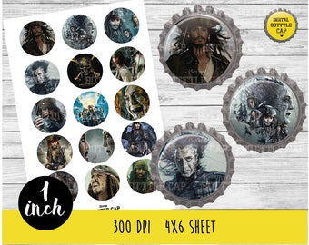 COD170-50% OFF SALE Pirates of the Caribbean Collage Sheet-1 inch Bottlecap-Printable Image Download for pendants magnets party bottle cap
