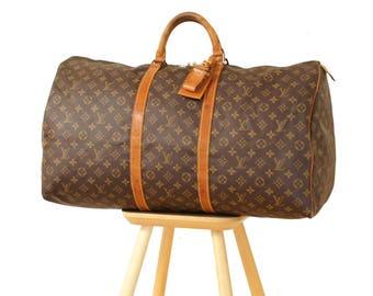 Authentic Louis Vuitton Monogram KEEPALL 60 Vintage Duffel Bag Luggage Handbag Travel Satchel Purse Boston YO4095