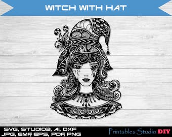 Witch With Hat Zentangle Halloween - svg mandala files cuttable Cricut Design Silhouette Digital Cut Files Instant Download, svg dxf studio3
