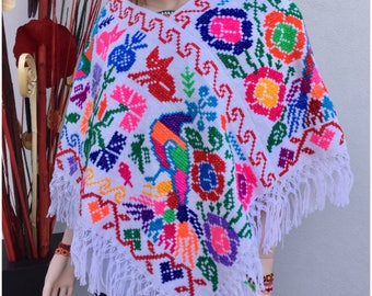 Mexican Poncho, hand embroidery, hupil cape, mexican party, summer evenings
