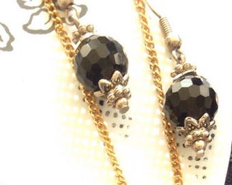Black faceted vintage earrings