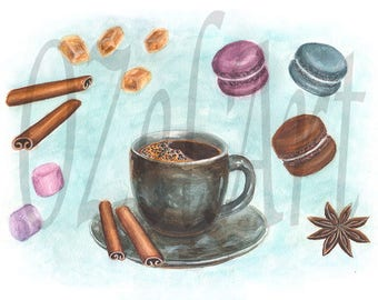 Digital Download Art, Coffee Set Watercolor Painting, Coffee Cup, Cinnamon, Anise, Macaroons, Marshmallow and Sugar Crystals, Printable Art