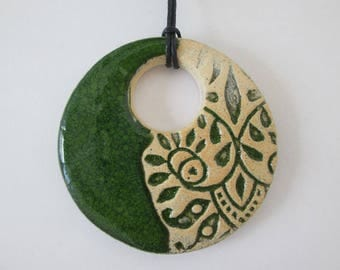 green ceramic pendant, ceramic pendant necklace, ethnic ceramic necklace, pottery handmade, bohemian pendant, ceramic jewelry, gift for girl