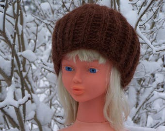 How chocolate mohair wool Knit Beanie