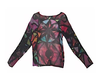 Darbury Stenderu Vintage 90's Colorful Stained Glass Abstact Print Sheer Mesh Shirt/Top/Tunic