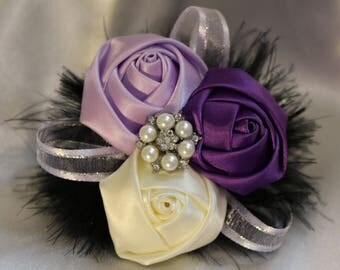 Satin Roses Brooch Corsage and Boutonniere Bridal Prom Combo