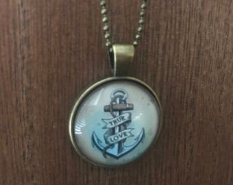 "Sailor Jerry ""True Love"" anchor pendant and necklace"