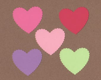 """25 - 2"""" Scalloped Heart Die Cuts Paper Craft Embellishment Butterfly Wings colors Set 7034"""