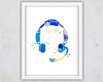 Printable Nursery Art, Instant Download Wall Art, Digital Watercolor Print, Nursery Decor, Music Headset Print, Nursery Print, Teen Print