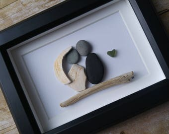 Wedding couple pebble and sea glass art picture  / Valentines day gift / Wedding gift / Anniversary gift idea / Rock art / Stone art picture