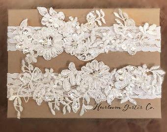 Floral Lace Wedding Garter Set, bridal garter set, vintage rhinestones